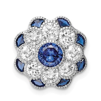 Sterling Silver Rh-plated CZ/Synthetic Blue Spinel Flower Chain Slide