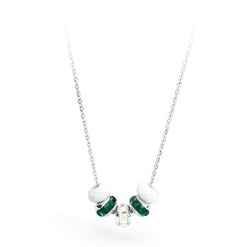 316L stainless steel, white agate, white and emerald Swarovski® Elements crystals.