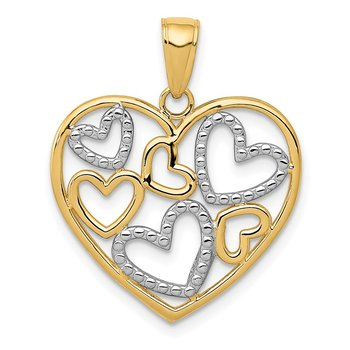 14K and White Rhodium Polished Hearts inside Heart Pendant