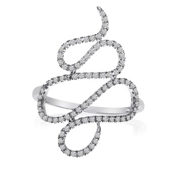 14k White Gold Snake Diamond Fashion Ring