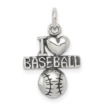 Sterling Silver Antique I (heart) Baseball Charm
