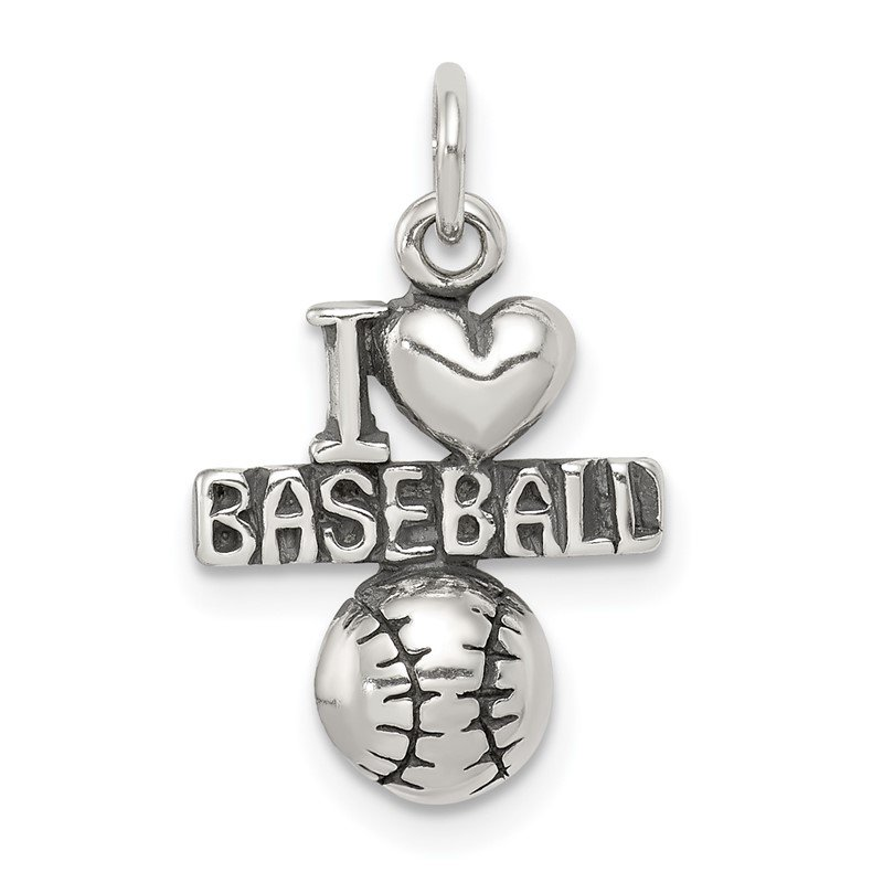 Quality Gold Sterling Silver Antique I (heart) Baseball Charm
