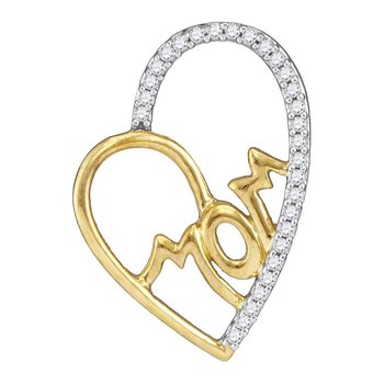 10kt Yellow Gold Womens Round Diamond Mom Mother Heart Pendant 1/10 Cttw