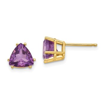 14k 7mm Trillion Amethyst Earrings