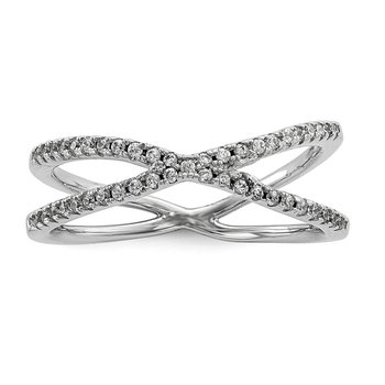 Sterling Silver Rhodium-plated CZ Criss Cross Ring
