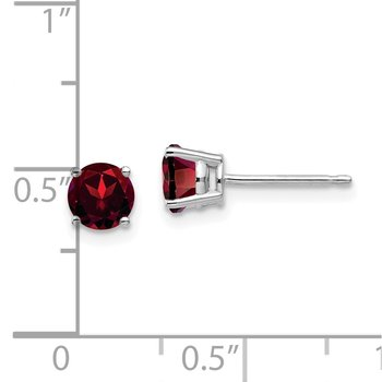 14k White Gold 5mm Garnet Earrings