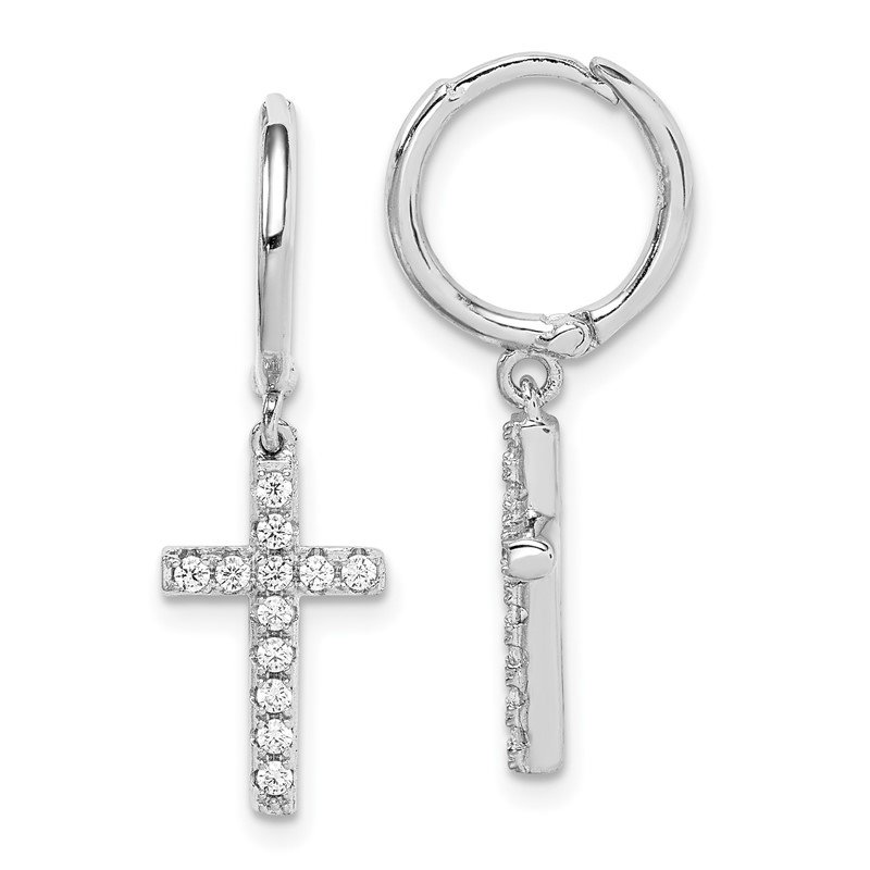 Quality Gold Sterling Silver Rhodium-plated CZ Cross Hinged Hoop Earrings