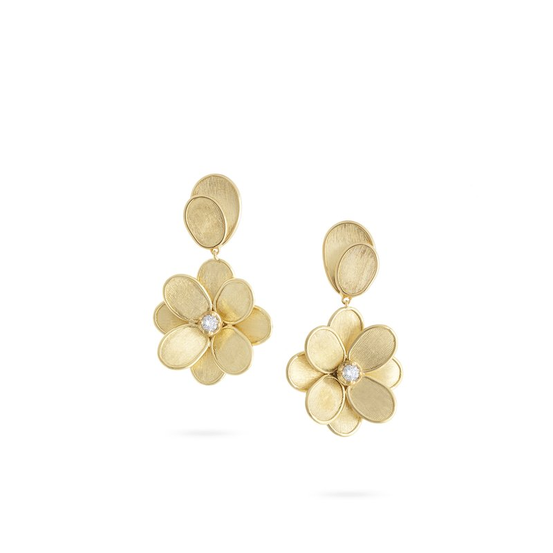 Marco Bicego Marco Bicego® Petali Collection 18K Yellow Gold and Diamond Single Flower Drop Earrings