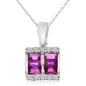 14k White Gold Princess Ruby and Diamond Pendant