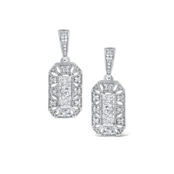 Diamond Antique Style Earrings Set in 14 Kt. Gold