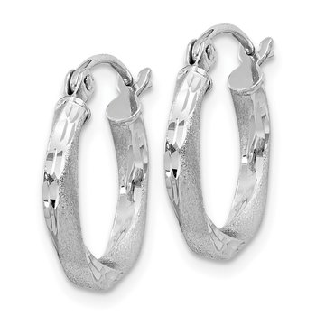 Sterling Silver RH-plated Satin Diamond-cut 2.5x15mm Twisted Hoop Earrings