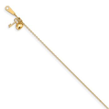 14k Gold Heart and Key 9in Plus 1in ext. Anklet