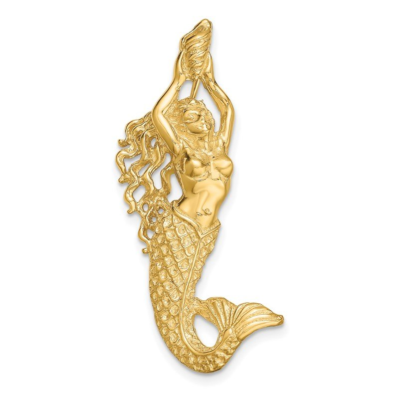 Quality Gold 14K Gold Polished / Textured Mermaid Chain Slide Pendant