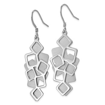 Leslie's Sterling Silver Polished Brushed Cut-out Dangle Earrings