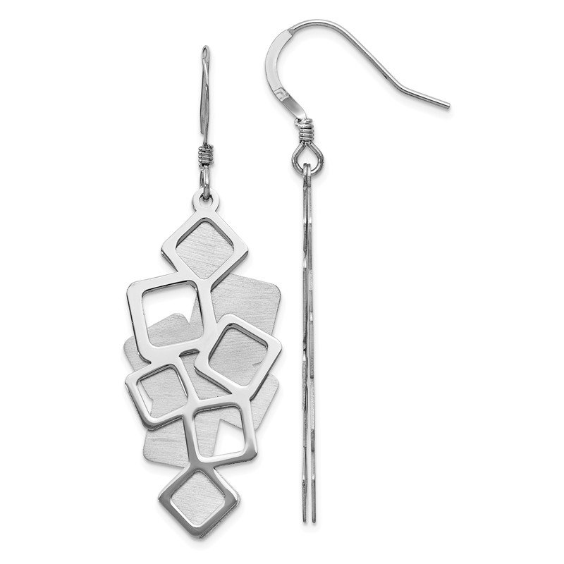 Leslie's Leslie's Sterling Silver Polished Brushed Cut-out Dangle Earrings