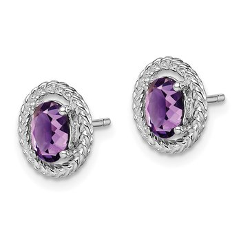 Sterling Silver Rhod-plat Amethyst Oval Post Earrings