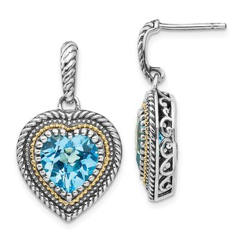 Sterling Silver w/14k Lt Swiss Blue Topaz Heart Dangle Post Earrings