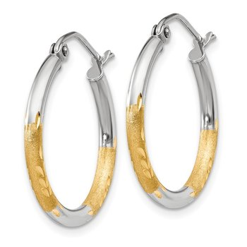 14k w/White Rhodium 2mm Satin and Polished Diamond-cut Hoop Earrings