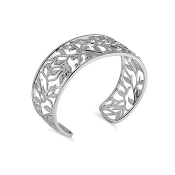 925 SS Dia Fashion Cuff Bangle in Leaf Design