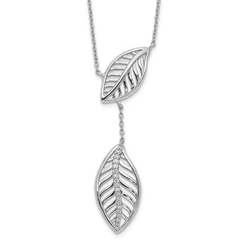 14k White Gold Diamond Leaves Necklace