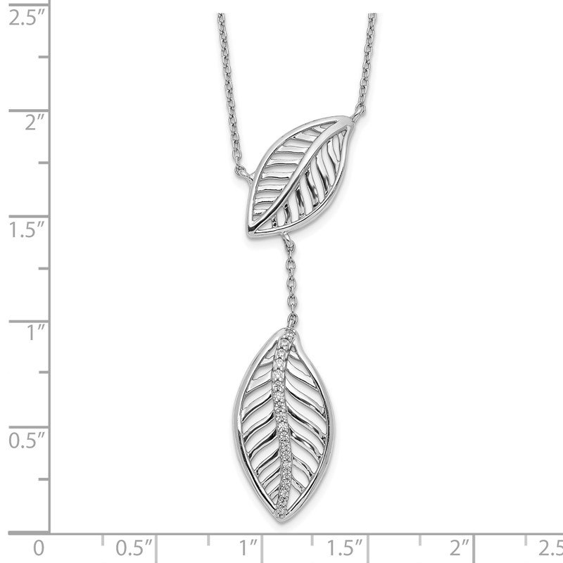 Quality Gold 14k White Gold Diamond Leaves Necklace