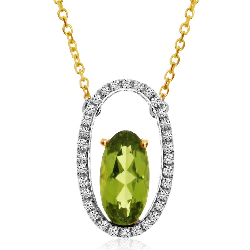 Color Merchants 14K Two Toned Oblong Peridot and Diamond Pendant