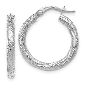 Leslie's 14k White Textured Hoop Earrings