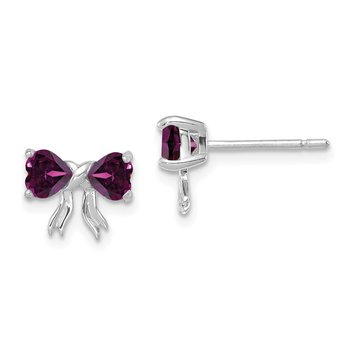 14k White Gold Polished Rhodolite Bow Post Earrings