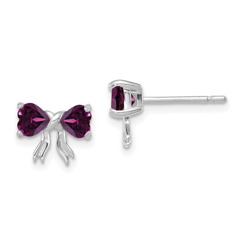 Quality Gold 14k White Gold Polished Rhodolite Bow Post Earrings
