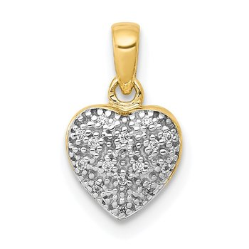 14k w/ White Rhodium Diamond Heart Pendant