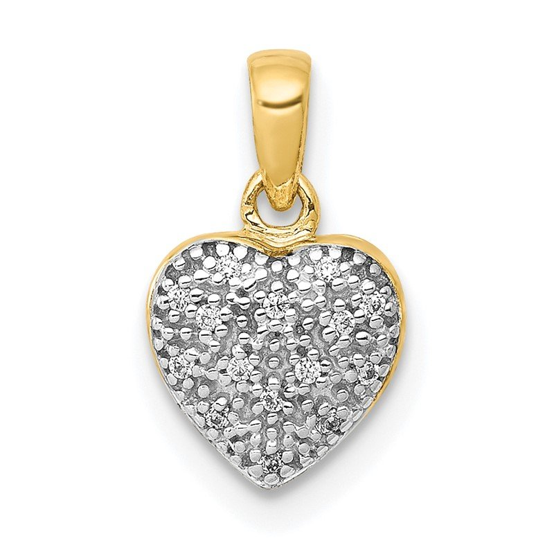 Quality Gold 14k w/ White Rhodium Diamond Heart Pendant