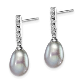 Sterling Silver Rhod-plat 8-9mm Grey FWC Pearl CZ Post Dangle Earrings