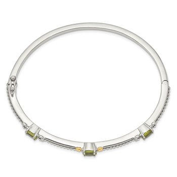 Sterling Silver w/14ky Peridot Bangle