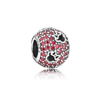 Disney, Minnie Silhouettes Charm, Red Cz