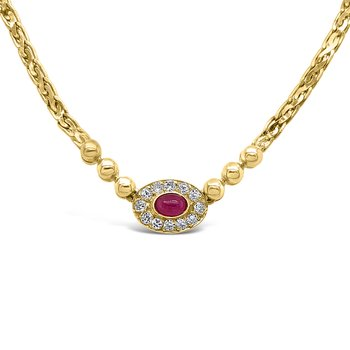 14K Yellow Gold Diamond Ruby Necklace