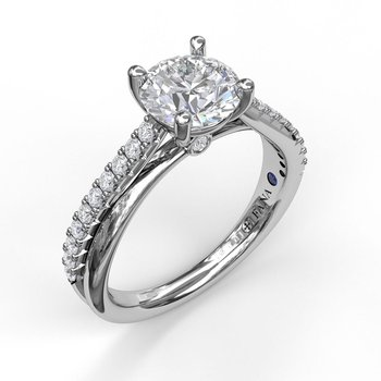 Round Cut Solitaire With Criss Cross Band