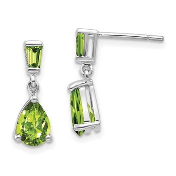 14k White Gold Peridot Dangle Post Earrings