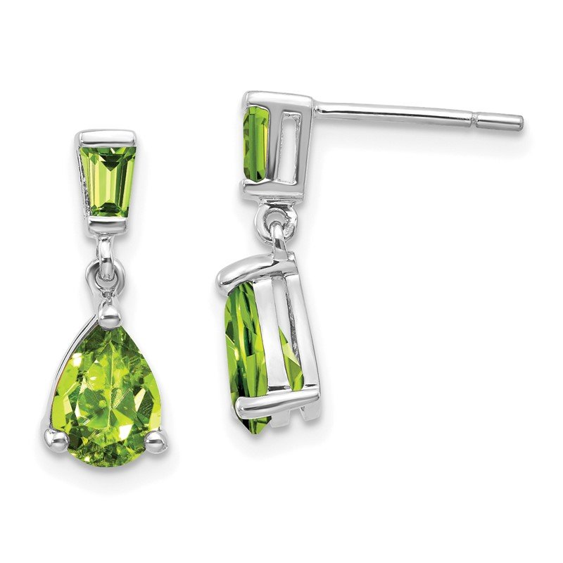 Quality Gold 14k White Gold Peridot Dangle Post Earrings