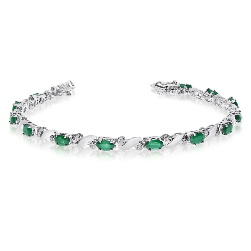 Color Merchants 14k White Gold Natural Emerald And Diamond Tennis Bracelet