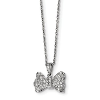 SS Rhodium-Plated CZ Brilliant Embers Bow Necklace