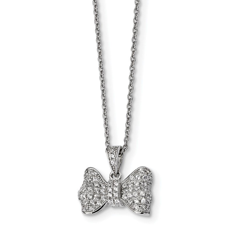Quality Gold SS Rhodium-Plated CZ Brilliant Embers Bow Necklace
