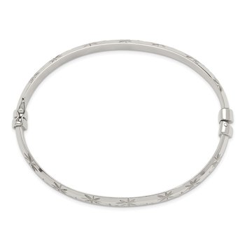 Sterling Silver D/C 7.5mm Bangle and 5mm Hoop Earring Set