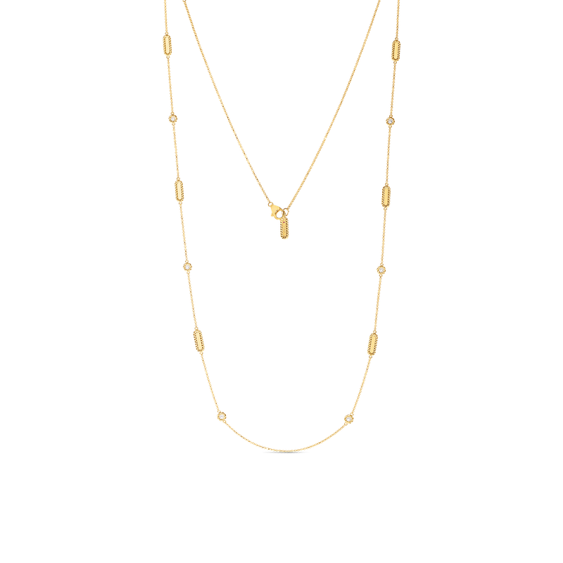 Roberto Coin 18Kt Gold Necklace With Alternating Diamond Stations