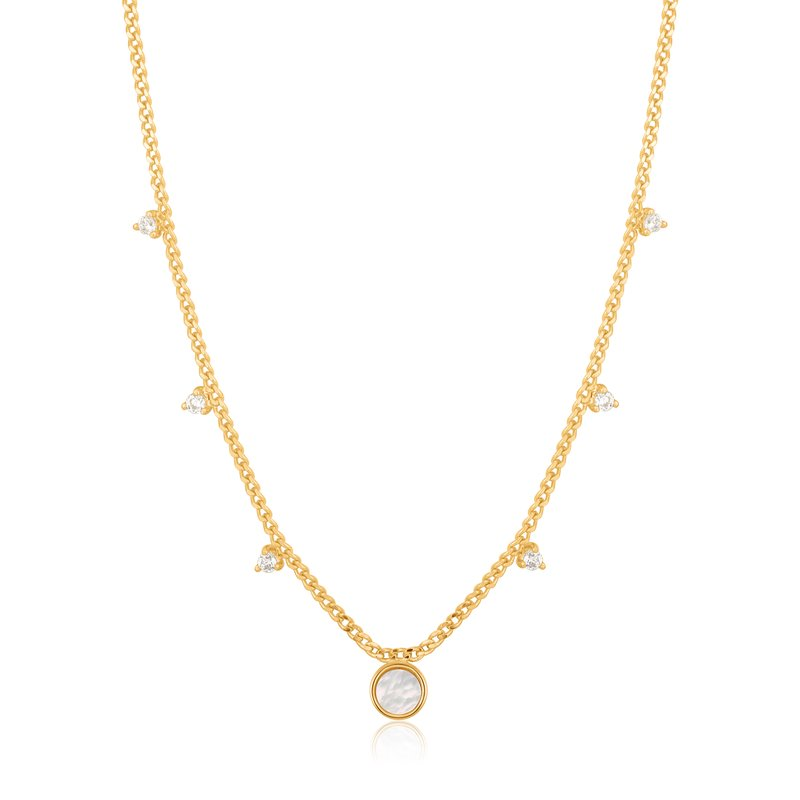 Ania Haie MOTHER OF PEARL DROP DISC NECKLACE
