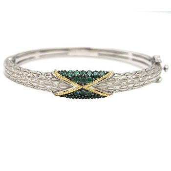 18kt & Sterling Silver Emerald Bangle