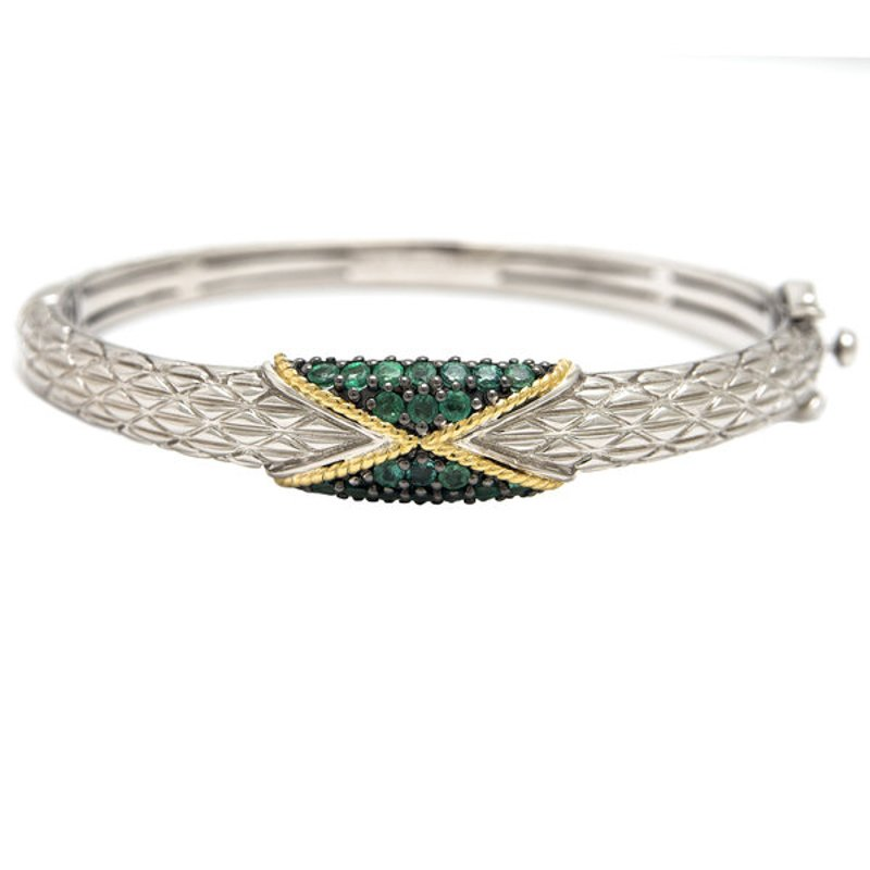 Andrea Candela 18kt & Sterling Silver Emerald Bangle