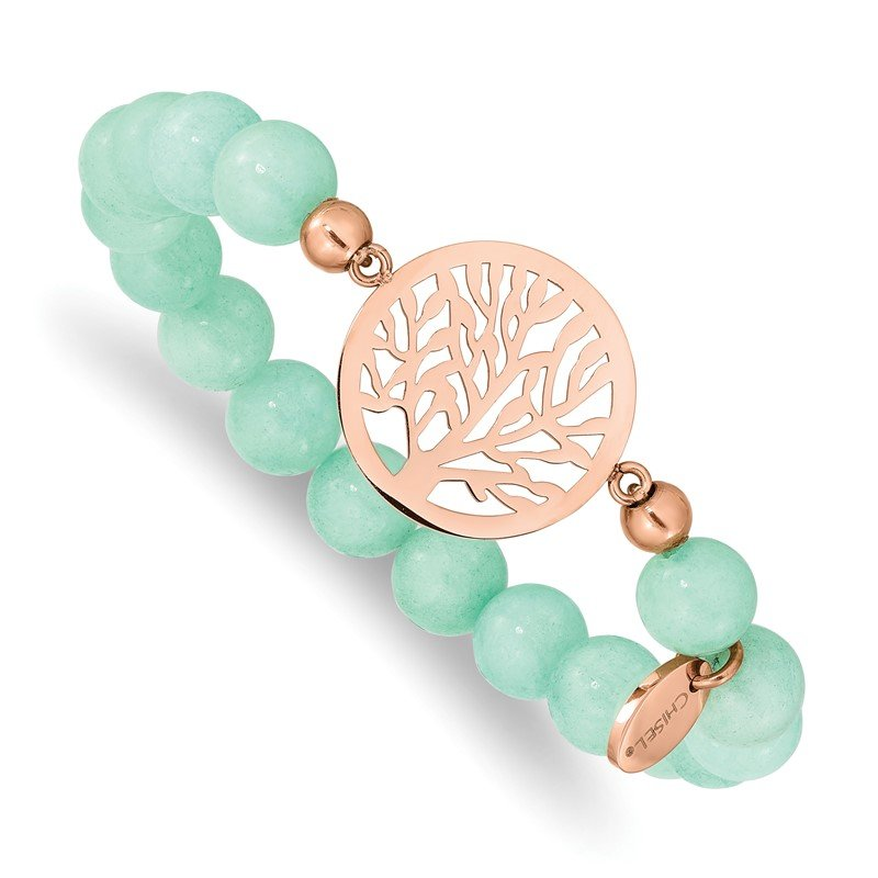 Chisel Stainless Steel Polished Rose IP Tree Green Dyed Jade Stretch Bracelet