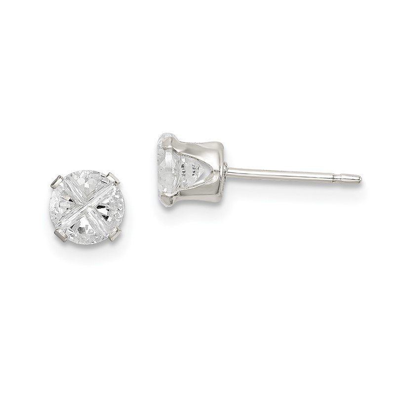 Quality Gold Sterling Silver 4.5mm Round Snap Set Cross-cut CZ Stud Earrings