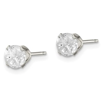 Sterling Silver 4.5mm Round Snap Set Cross-cut CZ Stud Earrings