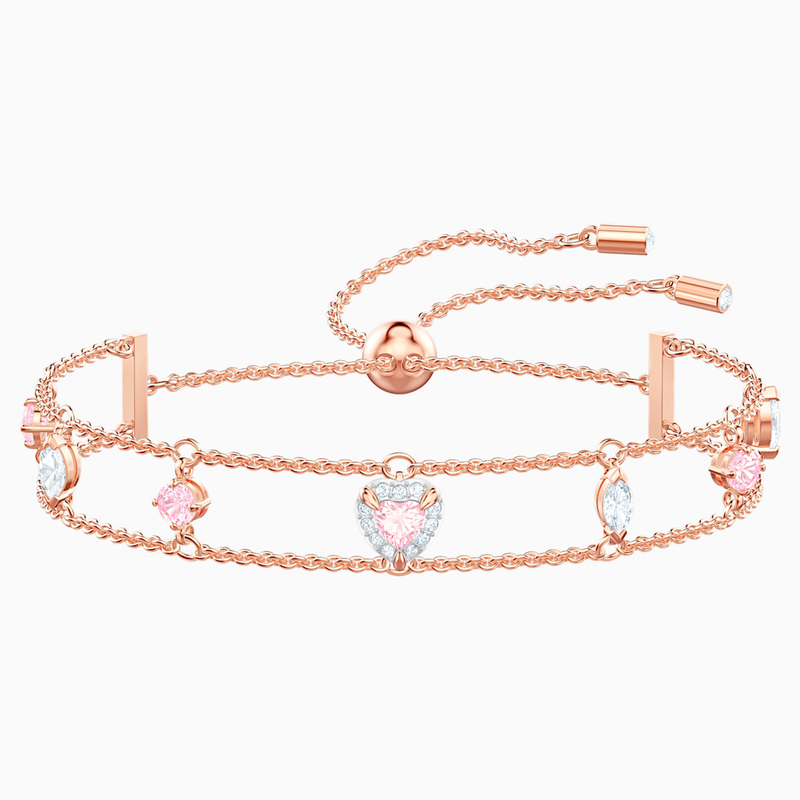 Swarovski One Bracelet, Multi-colored, Rose-gold tone plated